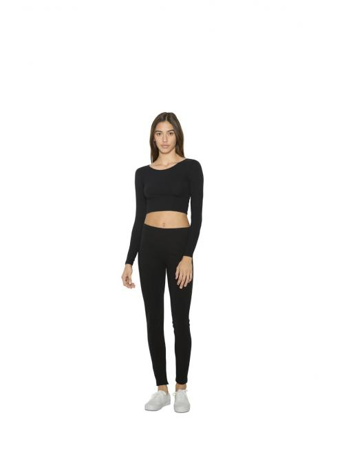 WOMEN S COTTON SPANDEX JERSEY LONG SLEEVE CROP TOP eb1a0bbfd2