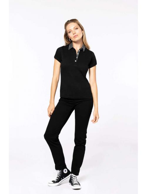 LADIES  TWO-TONE JERSEY POLO SHIRT 0350ef9119