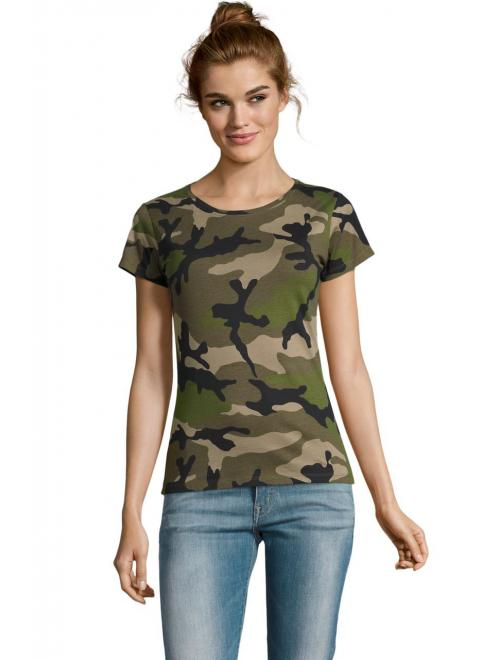CAMO WOMEN ROUND COLLAR T-SHIRT