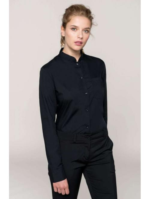 LADIES' LONG SLEEVE MANDARIN COLLAR SHIRT