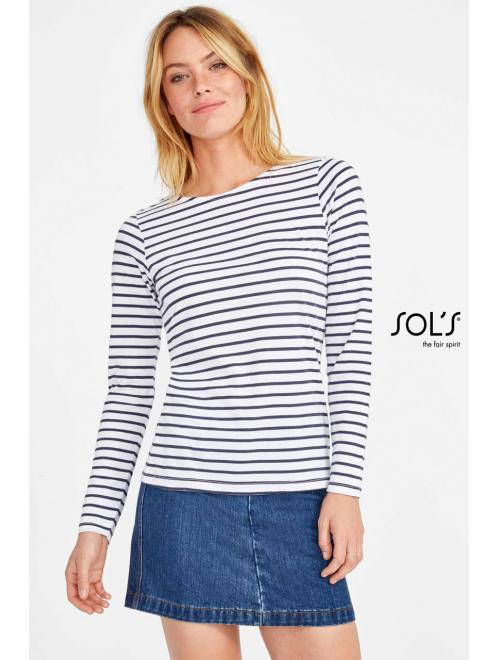 MARINE WOMEN LONG SLEEVE STRIPED T-SHIRT