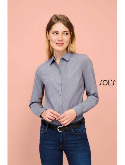 BARNET WOMEN LONG SLEEVE HEATHER POPLIN SHIRT