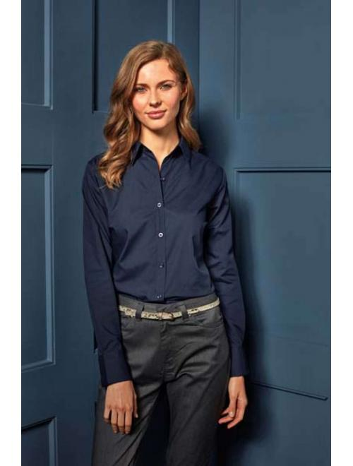 LADIES' LONG SLEEVE POPLIN BLOUSE