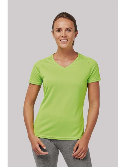 LADIES' V-NECK SHORT SLEEVE SPORTS T-SHIRT