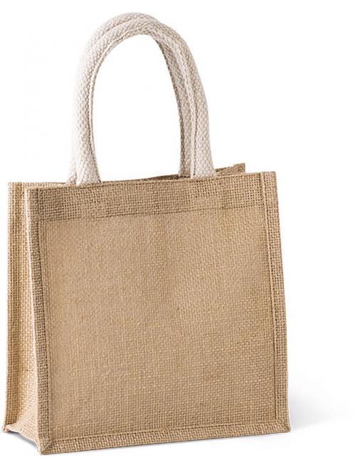 JUTE CANVAS TOTE SHOPPING BAG - SMALL